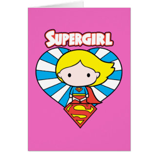 Chibi Supergirl Starburst Heart and Logo Card