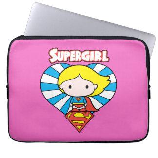 Chibi Supergirl Starburst Heart and Logo Computer Sleeves