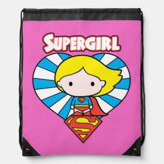 Chibi Supergirl Starburst Heart and Logo Drawstring Bag