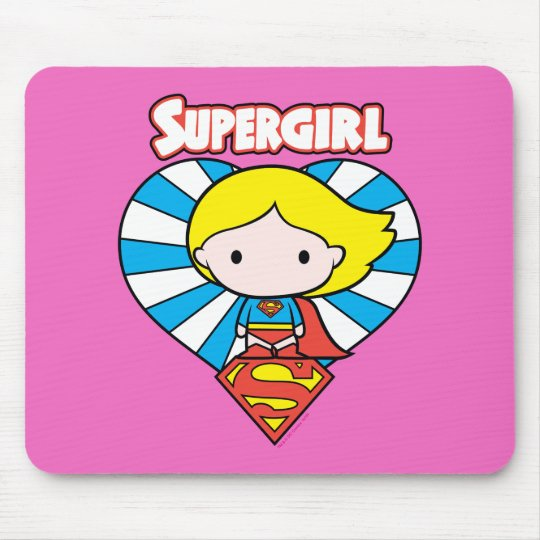 Chibi Supergirl Starburst Heart and Logo Mouse Pad