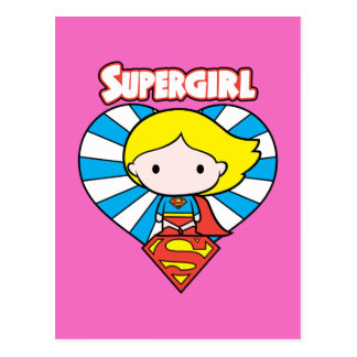 Chibi Supergirl Starburst Heart and Logo Postcard