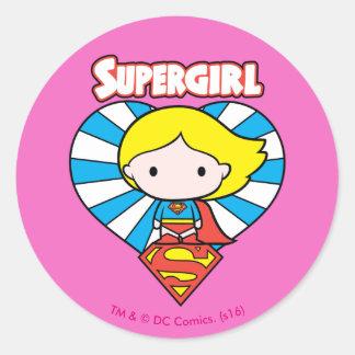 Chibi Supergirl Starburst Heart and Logo Round Sticker