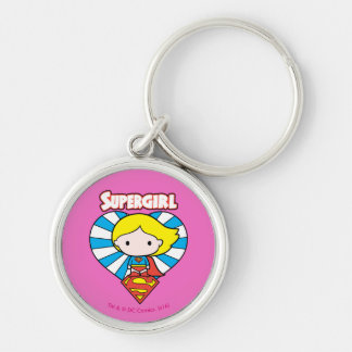 Chibi Supergirl Starburst Heart and Logo Silver-Colored Round Keychain