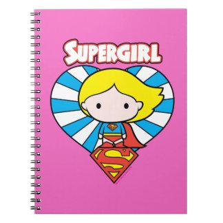 Chibi Supergirl Starburst Heart and Logo Spiral Note Book