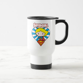 Chibi Supergirl Starburst Heart and Logo Travel Mug