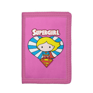 Chibi Supergirl Starburst Heart and Logo Trifold Wallet