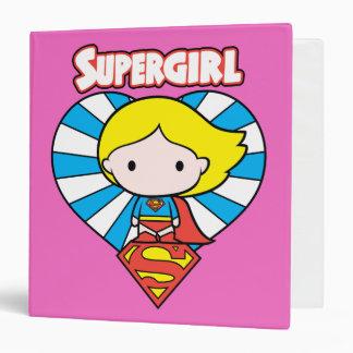 Chibi Supergirl Starburst Heart and Logo Vinyl Binders