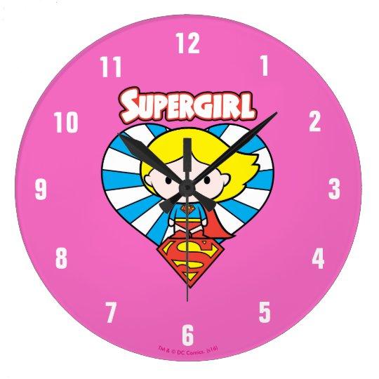 Chibi Supergirl Starburst Heart and Logo Wall Clocks
