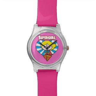 Chibi Supergirl Starburst Heart and Logo Watch