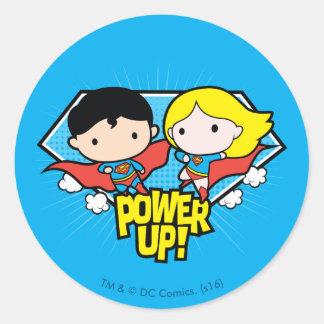 Chibi Superman & Chibi Supergirl Power Up! Classic Round Sticker