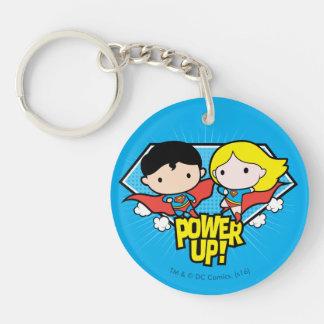 Chibi Superman & Chibi Supergirl Power Up! Double-Sided Round Acrylic Keychain