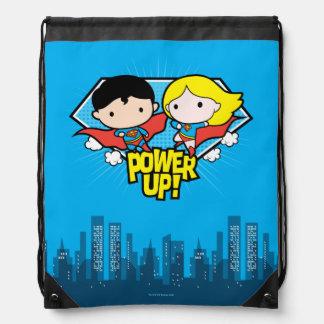 Chibi Superman & Chibi Supergirl Power Up! Drawstring Bag