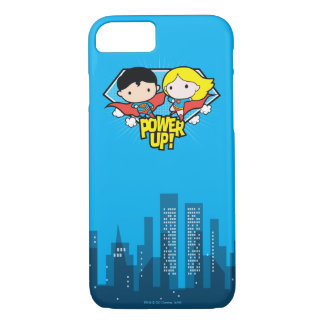 Chibi Superman & Chibi Supergirl Power Up! iPhone 8/7 Case