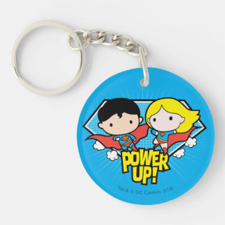 Chibi Superman & Chibi Supergirl Power Up! Keychain