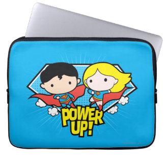 Chibi Superman & Chibi Supergirl Power Up! Laptop Sleeve