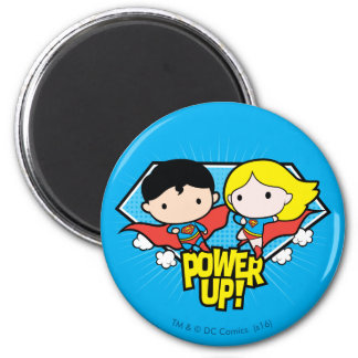 Chibi Superman & Chibi Supergirl Power Up! Magnet