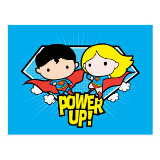 Chibi Superman & Chibi Supergirl Power Up! Postcard