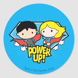 Chibi Superman & Chibi Supergirl Power Up! Round Sticker