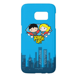 Chibi Superman & Chibi Supergirl Power Up! Samsung Galaxy S7 Case