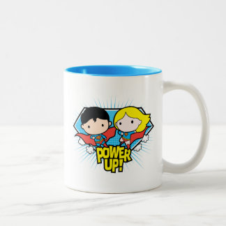 Chibi Superman & Chibi Supergirl Power Up! Two-Tone Coffee Mug