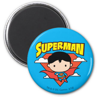 Chibi Superman Polka Dot Shield and Name 2 Inch Round Magnet