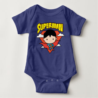 Chibi Superman Polka Dot Shield and Name Baby Bodysuit