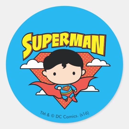 Chibi Superman Polka Dot Shield and Name Classic Round Sticker