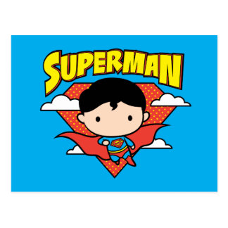 Chibi Superman Polka Dot Shield and Name Postcard