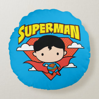 Chibi Superman Polka Dot Shield and Name Round Pillow