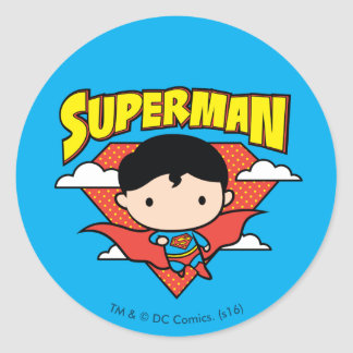 Chibi Superman Polka Dot Shield and Name Round Sticker