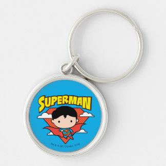 Chibi Superman Polka Dot Shield and Name Silver-Colored Round Keychain