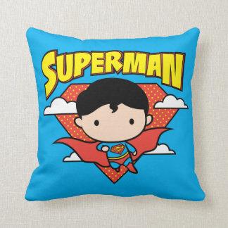 Chibi Superman Polka Dot Shield and Name Throw Pillow