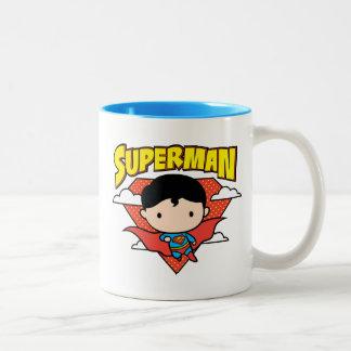 Chibi Superman Polka Dot Shield and Name Two-Tone Coffee Mug