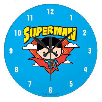Chibi Superman Polka Dot Shield and Name Wall Clocks