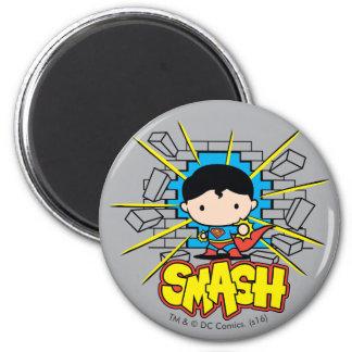 Chibi Superman Smashing Through Brick Wall 2 Inch Round Magnet