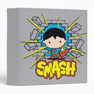 Chibi Superman Smashing Through Brick Wall Binder