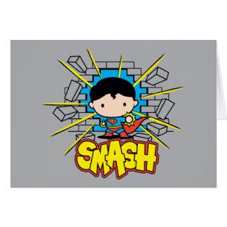 Chibi Superman Smashing Through Brick Wall Card