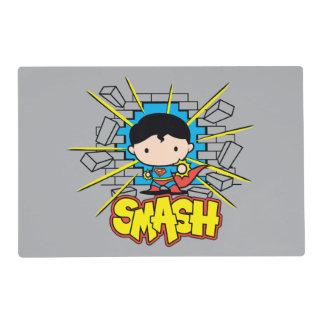 Chibi Superman Smashing Through Brick Wall Laminated Placemat