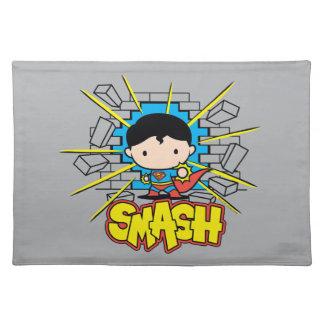 Chibi Superman Smashing Through Brick Wall Placemats