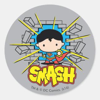 Chibi Superman Smashing Through Brick Wall Round Sticker