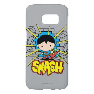 Chibi Superman Smashing Through Brick Wall Samsung Galaxy S7 Case