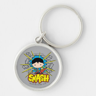 Chibi Superman Smashing Through Brick Wall Silver-Colored Round Keychain
