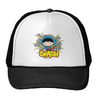 Chibi Superman Smashing Through Brick Wall Trucker Hat