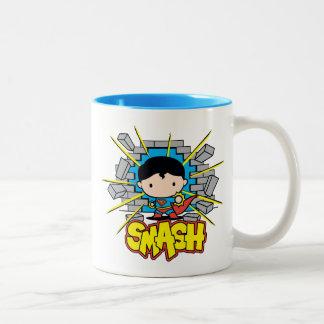 Chibi Superman Smashing Through Brick Wall Two-Tone Coffee Mug
