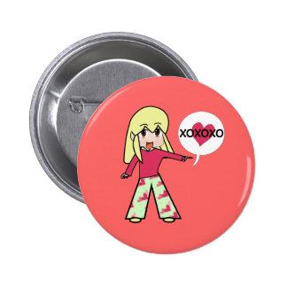 Chibi Valentine Hearts 2 Inch Round Button