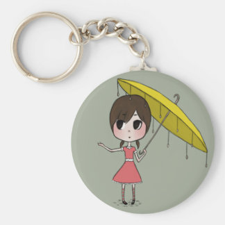 Chibi with Umbrella Button Basic Round Button Keychain