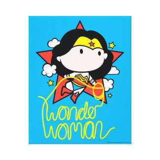 Chibi Wonder Woman Flying With Lasso Canvas Print