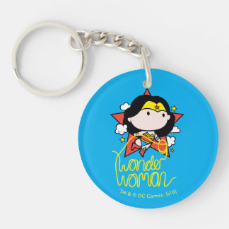 Chibi Wonder Woman Flying With Lasso Double-Sided Round Acrylic Keychain