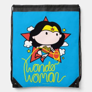 Chibi Wonder Woman Flying With Lasso Drawstring Bag