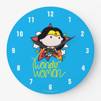 Chibi Wonder Woman Flying With Lasso Large Clock